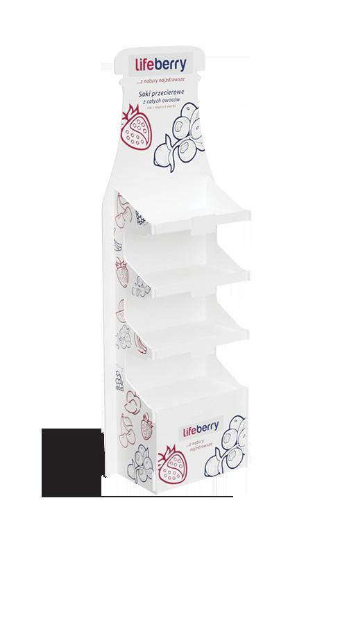 Werbestand mit dem Rücken in Form der Saftflasche - przykład produktu