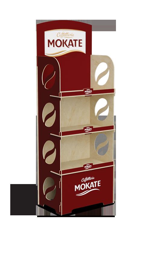 3-półkowy ekspozytor na opakowania kawy Mokate - przykład