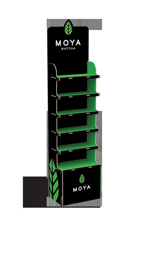 Kleiner, bemalter Werbestand aus Sperrholz für grünen Tee aus Japan - przykład produktu