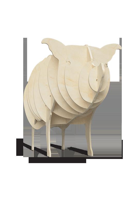 Stand ze sklejki w kształcie świni - przykład produktu