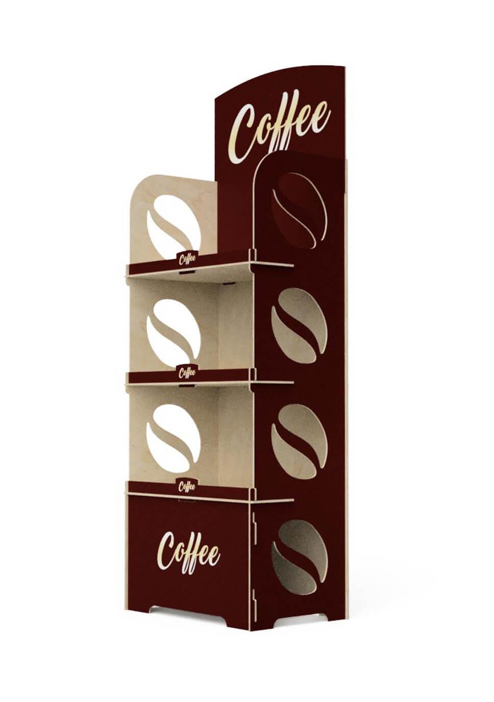 3-półkowy ekspozytor na opakowania kawy - no. 1413